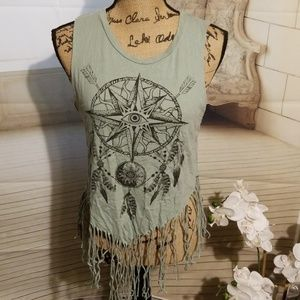 Wet Seal Top with bottom fringe Size M